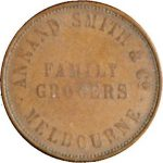 Australian one penny token issued by the Melbourne firm of Annand, Smith & Co