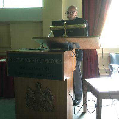 David Rampling presents his talk at the Royal Society of Victoria