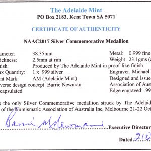 Certificate of Authenticity for Fine Silver medallion