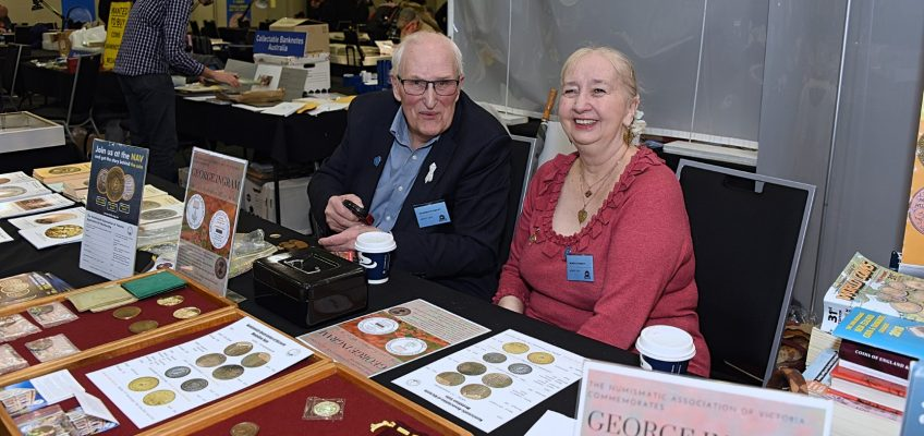 Melbourne Numismatic Society members staffing the Club Information Table