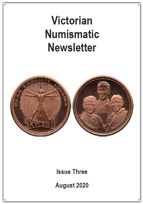 Cover of newsletter featuring obverse and reverse of a bronze commemorative medallion for the 2nd manned mission to Skylab