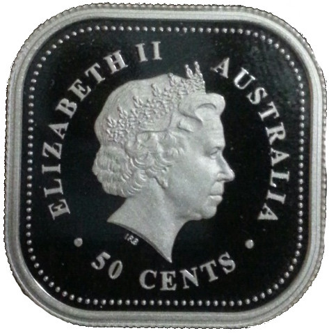 4th portrait of Queen Elizabeth II facing right wearing the Girls of Great Britain and Ireland Tiara Lettering: ELIZABETH II AUSTRALIA IRB · 50 CENTS ·