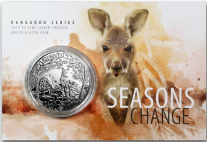 Two Eastern Grey Kangaroo's, one with a joey of her own. Lettering: ONE DOLLAR 1 oz .999 Ag